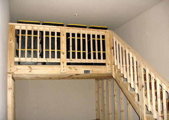 Tandem Garage Loft With Steps Railing